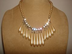 """Vintage 1930's Rhinestone & PEARL Drop Bib Necklace ~ Gorgeous ~ Glamor ~ 16"""" Long by PastPossessionsOnly on Etsy"""