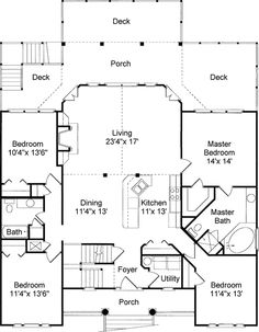 Plan 60053RC: Low Country Or Beach Home Plan. Beach House Floor ...