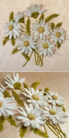 --margarides, en 3 D-- -Dimensional Daisies - 3 Lessons taught by Annamaria Kover of Humming Needles at… Sewing 101 – Guide for beginners, like me… – The D. Dreamer A – Dimensional Daisies – 3 Lessons by Annamaria Kover I LOVE this stumpwork A Silk Ribbon Embroidery, Crewel Embroidery, Hand Embroidery Designs, Cross Stitch Embroidery, Embroidery Patterns, Machine Embroidery, Cross Stitches, Embroidery Thread, Stitch Patterns