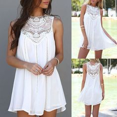 Stylish Lace Patchwork Mini Chiffon Dress