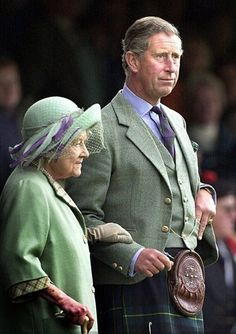 Her Majesty Queen Elizabeth The Queen Mother & Prince Charles