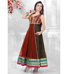 Anarkali Suit in Maroon and Brown Shaded Net Shimmer. #anarkali #suit #dress #onlinesuit #dtrendsetter