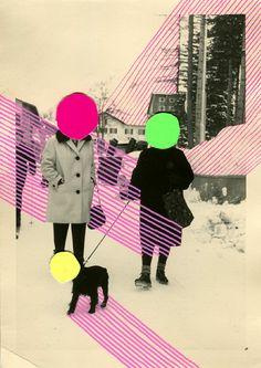 Collages sur photos vintage de l'artiste italienne Naomi Vona