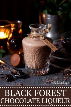 This homemade Black Forest Chocolate Liqueur recipe is the ultimate winter tipple. It is decadent, rich, creamy & chocolatey, with a hint of cherries. Homemade Liqueur Recipes, Homemade Alcohol, Homemade Liquor, Cocktails, Cocktail Drinks, Alcoholic Drinks, Martinis, Beverages, Cherry Liqueur