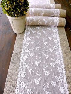 Wedding table runner, pink lace rustic chic wedding tablecloth, burlap and lace table runner, handmade in the USA #Burlap #Wedding Ideas