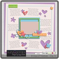 Template freebie from Suzy Q Scraps #digiscrap #scrapbooking #digifree #scrap #freebie #scrapbook