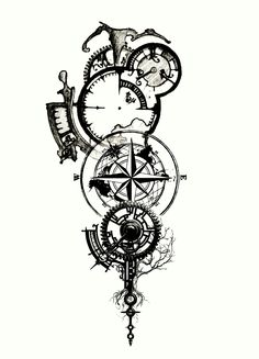 Clockwork tattoo- I like the elements of this one Forarm Tattoos, Body Art Tattoos, Sleeve Tattoos, Tattoo Thigh, Clockwork Tattoo, Compass Tattoo Design, Compass Drawing, Viking Tattoos, Symbolic Tattoos
