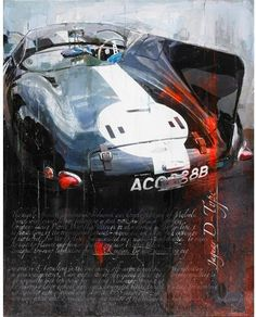 Jaguar D-type by Markus Haub Cool Car Drawings, Automotive Art, Automotive Group, Le Mans, Porsche, Automobile, Cult, Car Illustration, Car Posters