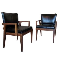 Mid Century Walnut Arm Chairs, Pair from TREBOR/NEVETS for $1850.00 on Square Market