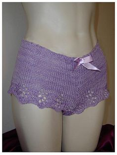 Lacy Boyshorts--PDF Knitting Pattern.  Knit these sexy little shorts for sleeping or sunning.