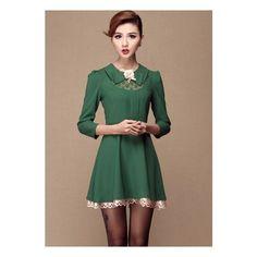 Green Lapel Long Sleeve Lace Applique Dress ($66) via Polyvore