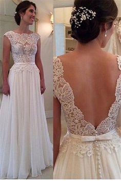 Cap romântico manga casamento De praia Vestido pescoço da colher andar De comprimento vestidos De casamento branco vestidos Vestido De Noiva 2016