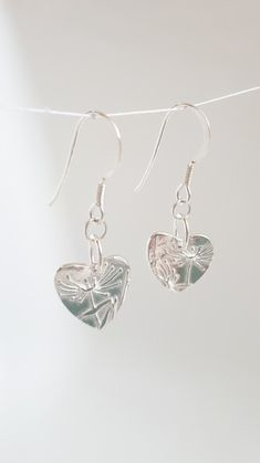 3d612ffa2 Fine silver heart drop earrings £25.00 Handmade Jewelry, Drop Earrings,  Heart, Silver. Folksy