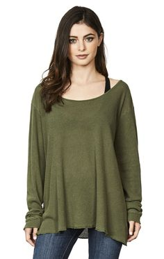 LONG SLEEVE PIGMENT DYE SCOOP NECK THERMAL