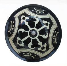 Ceramic Basin Black & White B- Large - Hadeda Tiles
