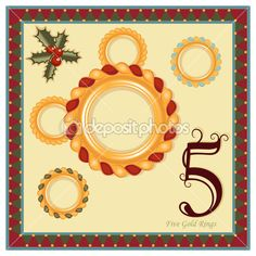 Illustration about The 12 Days of Christmas - Day - Five Gold Rings Additional format, file saved as EPS AI 8 is now pending Dreamstime inspection. Illustration of symbol, rings, spiritual - 16763421 Twelve Days Of Christmas, Christmas Makes, Christmas Carol, All Things Christmas, Christmas Time, Christmas Crafts, Christmas Ideas, Christmas Countdown, Five Gold Rings