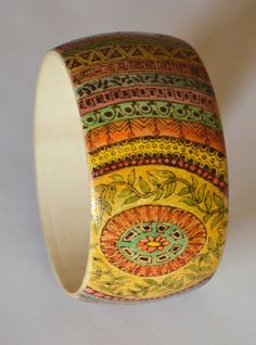 Hand painted pyrographed wooden bangle