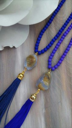 Blue Glass Beads & Agate, Leather Tassel