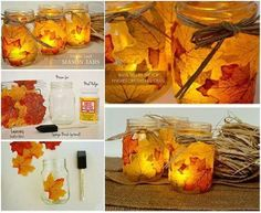 Incredible Mason Jar Craft Lamps with Maple Leaf