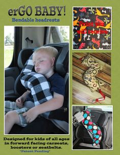 erGO BABY Bendable baby / toddler headrest carseat pillow and cover in Multi Dinos on Black The Babys, Baby Kind, Travel With Kids, Baby Fever, Future Baby, Diy, Baby Items, Little Ones, Sewing Tutorials