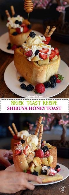 Honey Toast Recipe - It's a delicious and attractive lighter desert your friends and family will love.