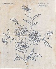 VINTAGE EMBROIDERY TRANSFER - CHRYSANTHEMUM MOTIF