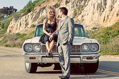 Engagement Session with a car. Photographed byJustin Lee