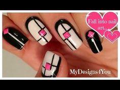 Monochrome Geometric Nail Art | Mix 'n' Match Nails #nailart - bellashoot.com & bellashoot iPhone & iPad app