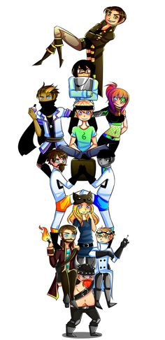 Top to bottom: Ridgedog, Nilesy, Rythian and Zoey, Martyn, Sips and Sjin, Hannah, Lewis and Duncan, Simon