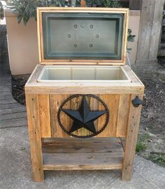 Superb Outdoor Coolers With Stand | NEW Hand Made, Weathered Wood Outdoor Ice Chest  W