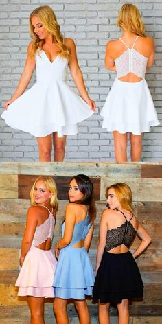 chic spaghetti strap short prom dress fashion v-neck a-line party dress  chic zipper up lace back formal dress ...heels and a matching clutch would already look lavish. A halter style would even be sexy yet proper. From off-shoulders to one-sided straps or long-s...ok striking and glamorous. A wide selection of white dresses is readily available from local department stores and practically anywhere. But if you fi #ShopLeisaMarie.com #dresses-formal-white #fashions