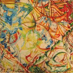 """DIPINTO opera d'arte astratta abstract acrylic on canvas red orange yellow green """"Frammenti di episodi vissuti"""" di SumanDimension su Etsy"""