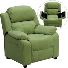 Flash Furniture Deluxe Padded Contemporary Avocado Microfiber Kids Recliner with Storage Arms [BT-7985-KID-MIC-AVO-GG]