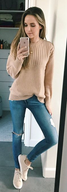 #winter #fashion / Camel Knit / Ripped Skinny Jeans / Beige Sneakers