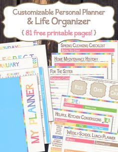 Printables -- Customizable Personal & Life Planner | 81 Free Printable Pages