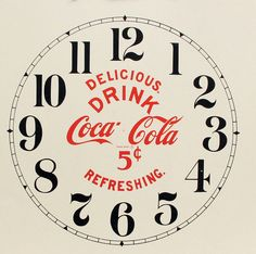 "This is a brand new Coca Cola clock dial. Great replacement on antique clocks or for making a new clock. Comes on ivory paper with red advertising and black numerals. Choose in either a 7"" or 11"" diameter time ring."