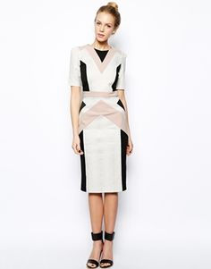 White Geometric Print Colorblock River Island 3/4 Sleeve Pencil Dress @ ASOS $60 Gorgeous