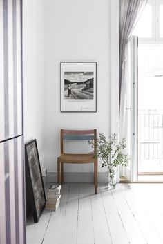 French balcony, light grey and white in  Swedish space