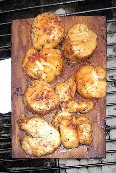 Cedar Plank Grilled Scallops