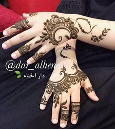 Henna @dar_alhena Arabic Henna Designs, Beautiful Henna Designs, Beautiful Mehndi, Latest Mehndi Designs, Simple Mehndi Designs, Henna Tattoo Designs, Henna Tattoos, Tattoo Ideas, Henna Mehndi