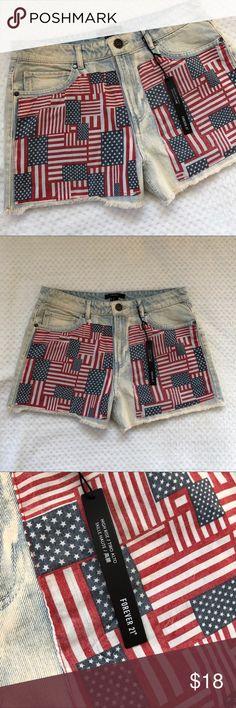 F21 American Flag High Rise Denim Shorts 30 Trendy American flag design high waist shorts. Brand new. Forever 21 Shorts Jean Shorts