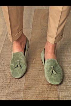 Love these baby green/ mint suede slip-ons.