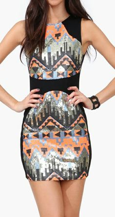 Aztec sequins dress