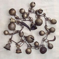 Tibetan Ritual Objects - 19th Century Set of Shaman's Bells on Chain, Nepal: