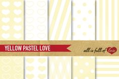 This is a Kitwith Pale YellowDigital Background Sheets::Patterns withhearts,dots & lines. You get 10 High Quality Sheets::JPG files inLetter and A4 size with300 dpi jpg, for perfect printing or digital use. These have so many uses, they are great for scrapbooking, crafts, party decor, DIY projects, blogs, stationery& more. All patterns are original and copyrighted by All is Full of Love