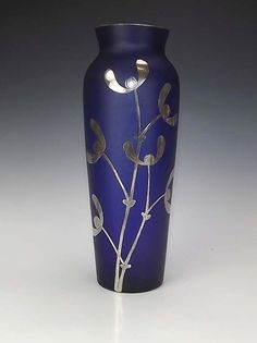 Bohemian Silver Chased Glass Vase - Art Nouveau!