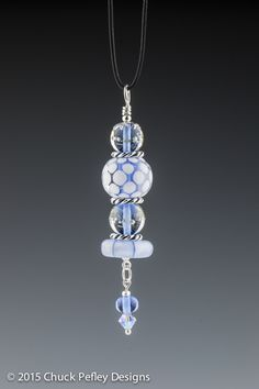 Springtime Blue and White - Handmade Glass Pendant