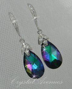 For the Girls!!!  Crystal Wedding Earrings Bridal Jewelry,  Peacock wedding Swarovski crystal Drop, Bridesmaid earrings,  Amore' Earrings. $36.00, via Etsy.