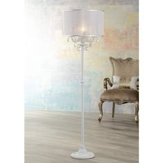 Ciara Draped Antique White Crystal Chandelier Floor Lamp - #2V787 | Lamps Plus