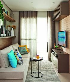 Apartamento pequeno com ambientes integrados e decoração neutra   Minha Casa